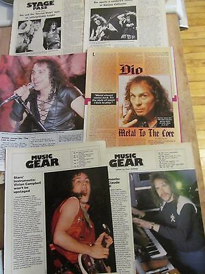 Dio, Lot of SIX Full Page Vintage Clippings, Ronnie James Dio