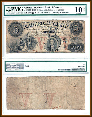 Very Rare 1856 $5 Provincial Bank of Canada; Prince Consort PMG VG10  #610-10-06