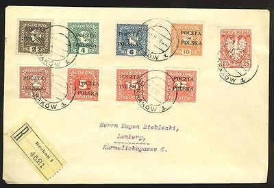Poland: 1919 cover with 8 Krakow issue stamps, signed Kronenberg
