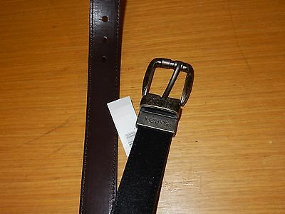 New Levis Boys Leather Brown & Black Reversible Belt Sz Small S Steel Buckle