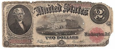 1917 United States Legal Tender Large Note $2 two 2 Dollars USA    6394