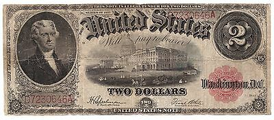 1917 United States Legal Tender Large Note $2 two 2 Dollars USA    6395