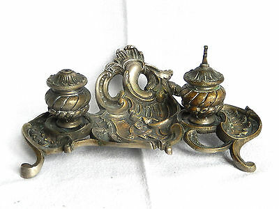 Inkwell Bronze On Stand Deco Rockery Sheet Acanthus New Art 30 Cm X 12