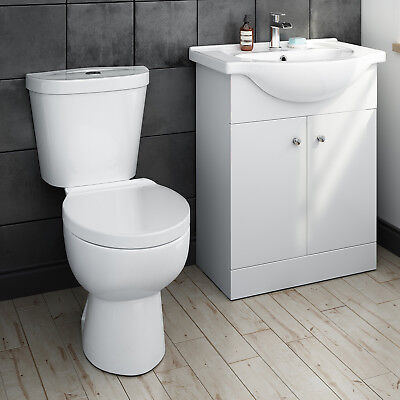 Modern Bathroom Furniture Vanity Unit Basin Sink Floorstanding & Toilet BS1061