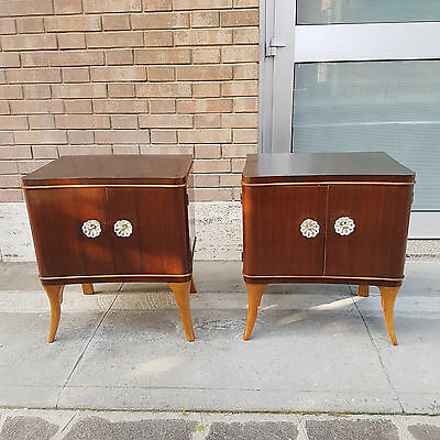 2 LOVELY TALIAN VINTAGE  ROSEWOOD  BEDSIDE TABLES ORIGINAL  DESIGN FROM 1940 50s
