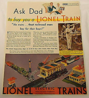 "1931 LIONEL TRAINS ad ~  ""Ask Dad To Buy You A Lionel Train"""