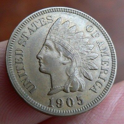 United States of America one 1 cent coin 1905 about mint state red brown