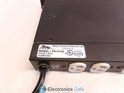 Middle Atlantic PD-915R  15 Amp Power Center Control Panel Surge