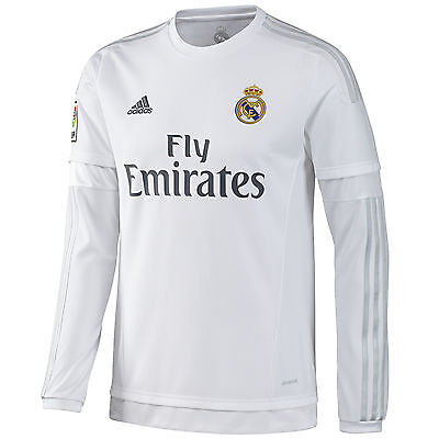 adidas Mens 15/16 Long Sleeve Real Madrid Football Home Jersey Shirt Top - White