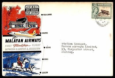 North Borneo 1963 Flight Malayan Aireqys To Kuching Cover