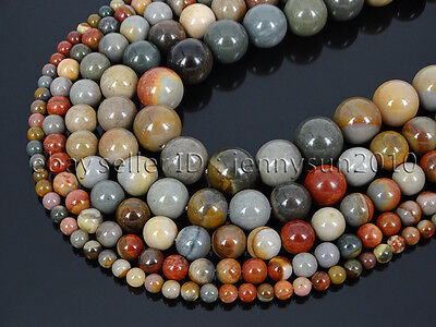 Natural Polychrome Jasper Gemstone Round Spacer Beads 15.5'' 4mm 6mm 8mm 10mm