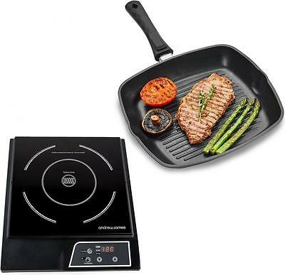 Andrew James Digital Electric Induction Hob 2000W + Non-Stick Griddle Frying Pan