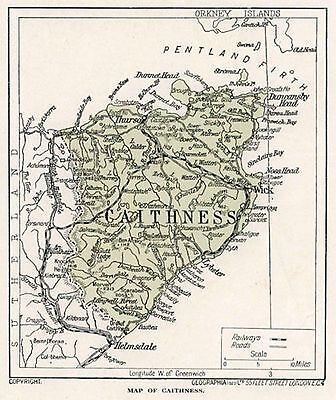 1923 map of Scotland: Caithness, ready-mounted antique print SUPERB