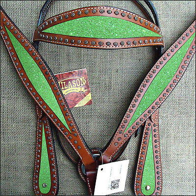 Hilason Western Leather Horse Headstall Bridle Breast Collar Mahogany Lime Green