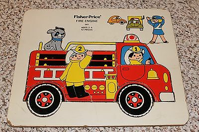 Fisher Price #561 Fire Engine Vintage Wooden Tray Puzzle 12 Pcs