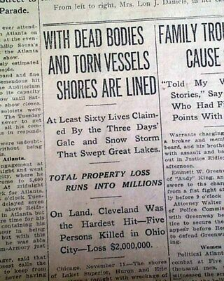 """GREAT LAKES STORM """"Big Blow"""" &  """"Freshwater Fury"""" Blizzard Cyclone1913 Newspaper"""