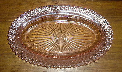 "Pink Depression Glass Anchor Hocking Celery Dish - Miss America - 10 3/4""x6 5/8"""