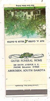 Gates Funeral Home 320 Sixth Avenue S.E., Aberdeen SD Brown Matchcover 120916