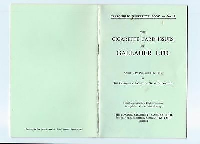 Cartophilic Reference Book No 4 Cigarette Card Issues Of Gallaher Ltd Vgc