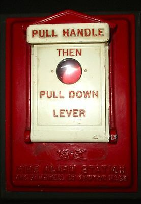 Vintage Red Gamewell Fire Alarm Pull Station Box Man Cave / Den  Fast Ship!