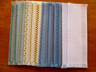 LOT 12 Cross Stitch Blank Various Edge Bookmarks Assorted Colors 14 Count 24X92
