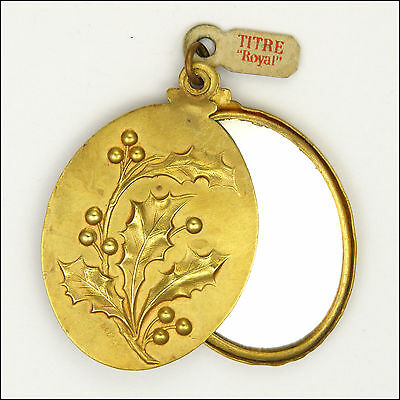 French Art Nouveau Gold Plated Holly Mirror Slide Pendant