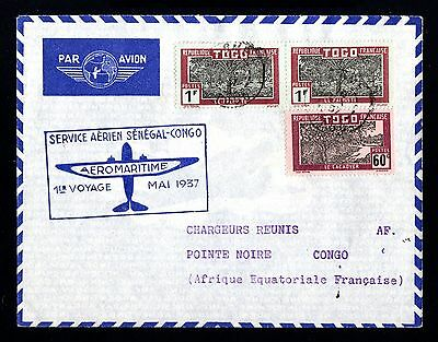 14515-TOGO-AIRMAIL COVER LOME to POINTE NOIRE (congo).1937.WWII.FRENCH colonies