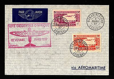 14520-SENEGAL-AIRMAIL COVER DAKAR to COTONOU(benin)1937.WWII.FRENCH colonies.AOF