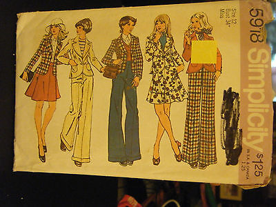Simplicity 5918 Unlined Fitted Jacket, Skirt & Pants Pattern - Size 12 Bust 34