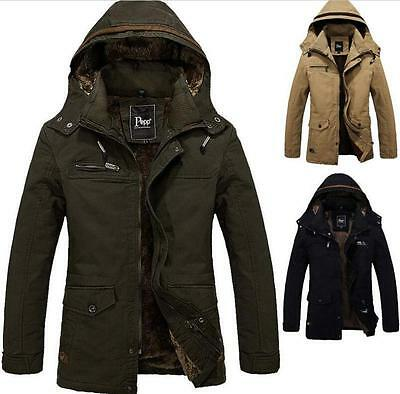 Winter Mens Military Padded Trench Coat Ski Jacket Hooded Parka Thick Cotton W34
