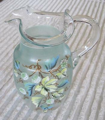 "VIntage Hand Painted Hand Blown Pale Turquoise Grape Motif 10"" Pitcher"