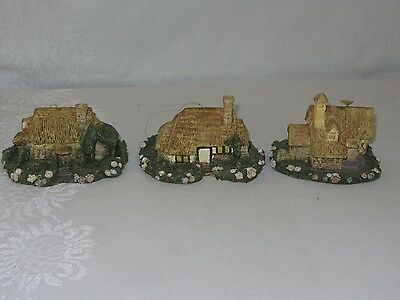 3 Vintage Silvestri Resin Ornaments Xmas Cottage House Village Handcrafted