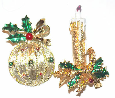 Lot 2 Vtg QUALITY CHRISTMAS Pins/Brooches Designer GERRY'S Ornament & Candle