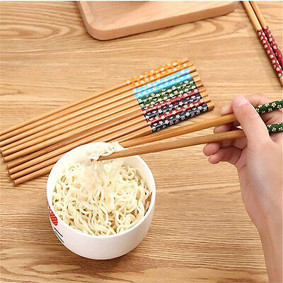 Reusable 5 pairs Wooden Chopsticks Engraved Bamboo Chinese Retro Nation Style
