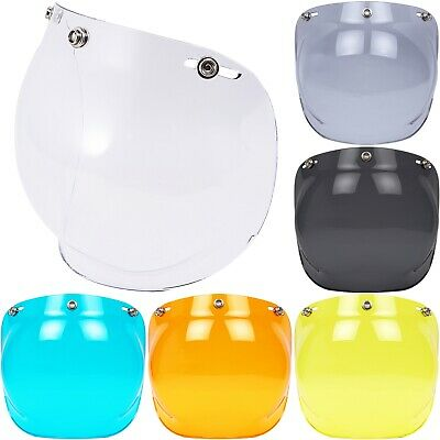 Bubble Visor Face Shield Lens Mask for 3-Snap Motorcycle Open Face Helmet Retro