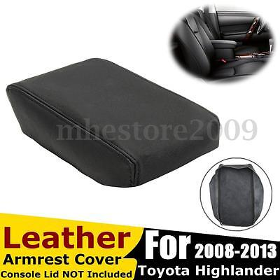 Leather Center Console Armrest Cover Black For Toyota Highlander 2008-2013 NEW