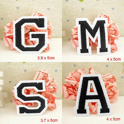 Letter A-Z Embroidered Iron On Patch Sew Motif DIY 1PC Applique Accessories FG