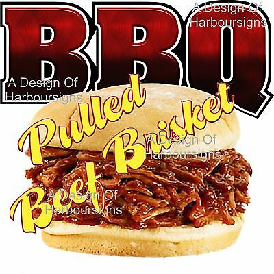 BBQ Barbeque Brisket Pig Restaurant Food Truck Concession Sign Vinyl Decal 14""