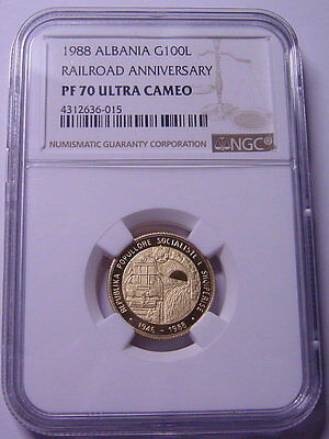 Albania 100 Leke 1988 Gold NGC PF70UC First Railroad Top grade Very RARE