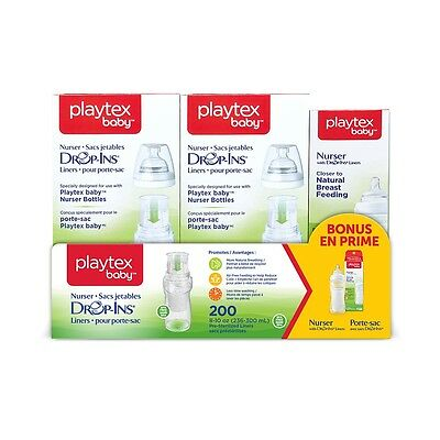 Playtex Nurser with 200 count Drop Ins Liners with Bonus Bottle