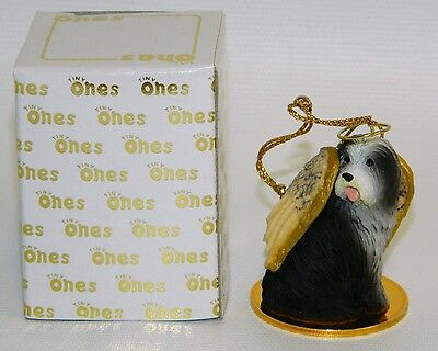 "Bearded Collie Dog Figurine Ornament Angel 2"" Mini Figure Tiny Ones Beardie"