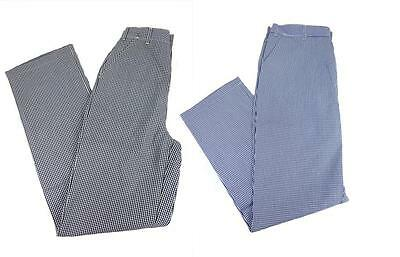Chef Trousers Chefs Whites Gingham Blue  & Black Check Pants Female Fit   C6