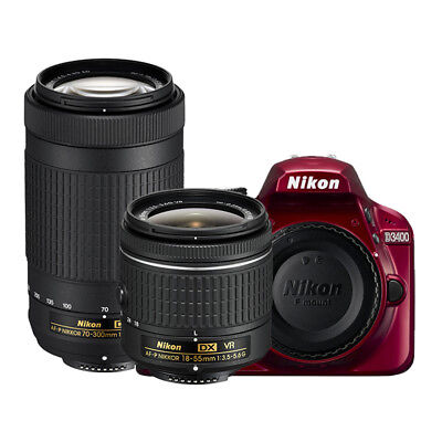 Nikon D3400 24.2MP DSLR Camera with 18-55mm and 70-300mm Lenses (Red)