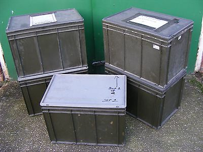 1 x Ex MOD Stackable Storage Transport Box & Lid - NATO Green