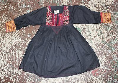 Vintage 1970s Afghan Afghanistan Middle Eastern Cotton Girls Hippie Dress Tunic