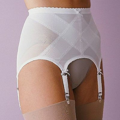 "Vintage New Girdlette ""Open Girdle"" Garterbelt White Metal Garters Super-Tight"