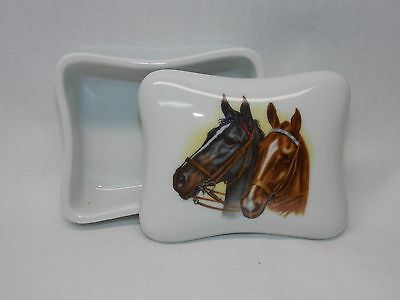 Black & Brown Horses Dresser or Trinket Box Porcelain Fired Head Decal on Top