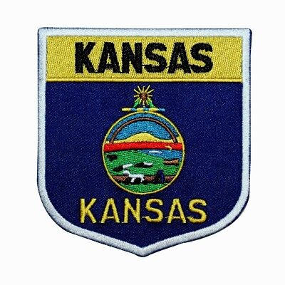 State Flag Shield Kansas Patch Badge Travel USA Embroidered Iron On Applique