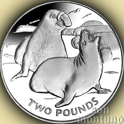 2017 ELEPHANT SEAL - Sterling SILVER Proof Coin South Georgia/Sandwich Islands