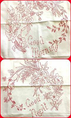 Antique Redwork Embroidery Linen Pillow Layover Set 2 Good Morning Night Cover
